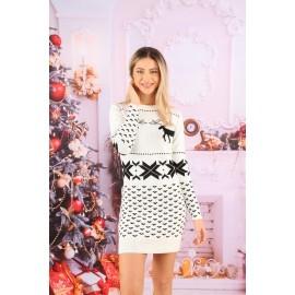 Rochie cu motive Lovely Christmas Alb