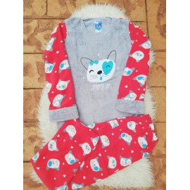 Pijama dama model Cats Rosu