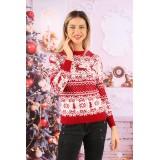 Pulover Tricotat Amaizing Christmas Rosu cu ALB