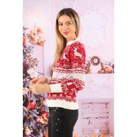 Pulover Tricotat Amaizing Christmas Alb cu Rosu