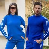 Set Trening cu dungi pentru El si Ea albastru