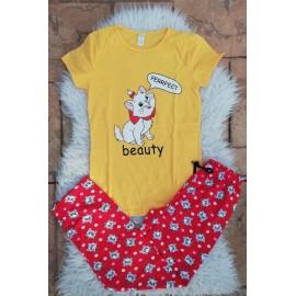 Pijama dama Beauty Cat galben