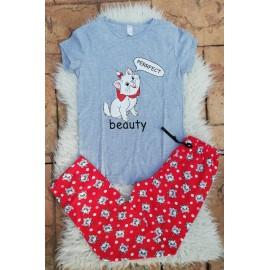 Pijama dama Beauty Cat gri
