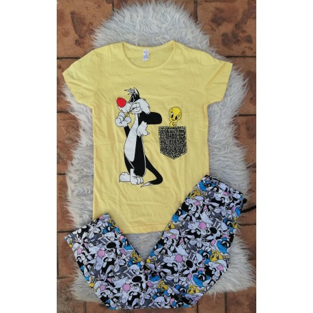 Pijama dama Sylvester si Tweety negru