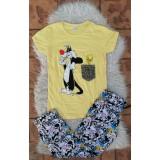 Pijama dama Sylvester si Tweety galben