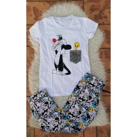 Pijama dama Sylvester si Tweety alb