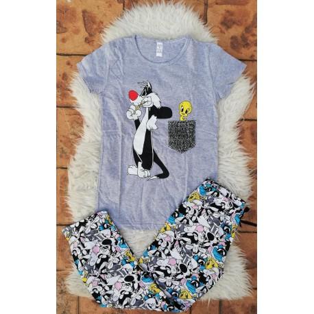Pijama dama Sylvester si Tweety gri