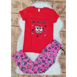 Pijama dama Bufnita Love Rosu