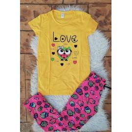 Pijama dama Bufnita Love Galben
