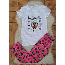Pijama dama Bufnita Love Alb