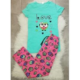 Pijama dama Bufnita Love Turcoaz