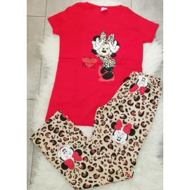 Pijama dama Minnie Leopard Rosu