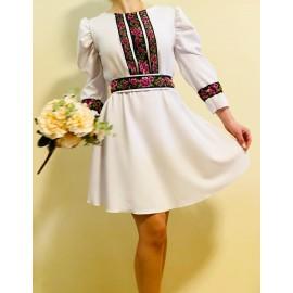 Rochie cu model floral scurta Eda Alb