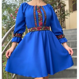 Rochie cu model floral scurta Eda Albastru