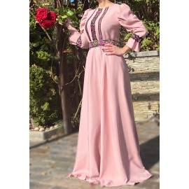 Rochie cu model floral lunga Eda Roz