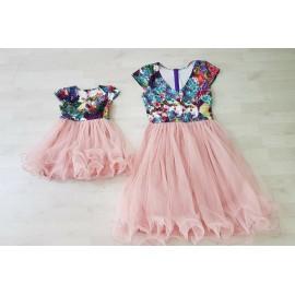 Set rochii Mama - Fiica midi Miki Roz
