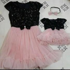 Set rochii Mama - Fiica cu maneca scurta Patricia Roz Plamantiu
