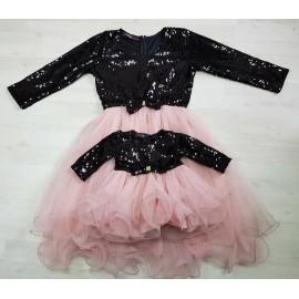 Set rochii Mama - Fiica cu maneca lunga Patricia Roz Plamantiu