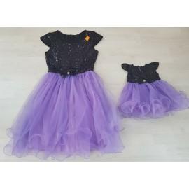 Set rochii Mama - Fiica cu maneca scurta Patricia Mov
