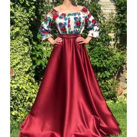 Rochie lunga cu model floral Gypsy Aria Bordo