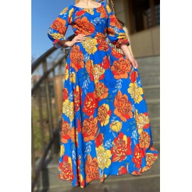 Rochie lunga de ocazie cu imprimeu floral Alina
