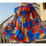 Rochie scurta de ocazie cu imprimeu floral Alina Albastru