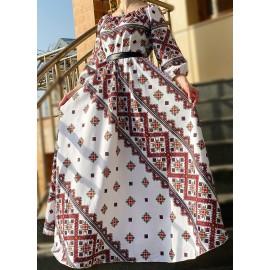 Rochie lunga de ocazie cu motive traditionale Elissabeta
