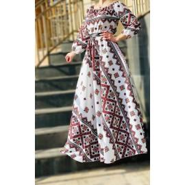 Rochie lunga de ocazie cu motive traditionale Feriha