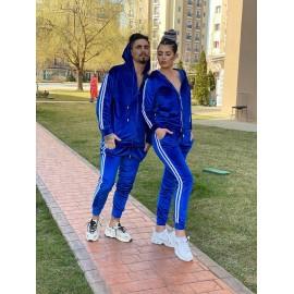 Set trening pentru cuplu din catifea Nicki Albastru