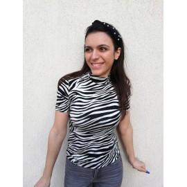Bluza dama cu imprimeu Zebra Alb-Negru