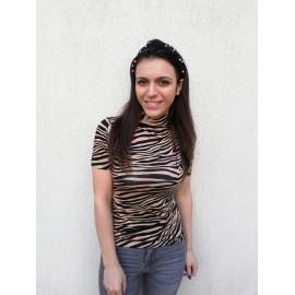Bluza dama cu imprimeu Zebra Cream-Negru