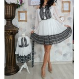 Set rochii scurte Mama-Fiica cu model traditional Anna negru
