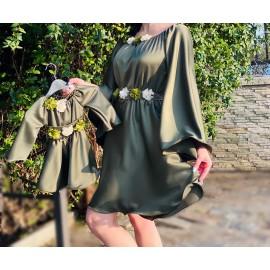 Set rochii scurte Mama-Fiica Valeria kaki