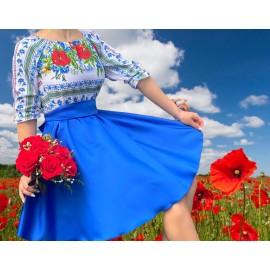 Rochie scurta  cu imprimeu floral Michel Albastru