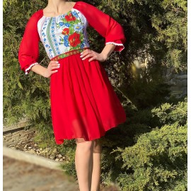 Rochie scurta cu imprimeu floral Miorita Rosu