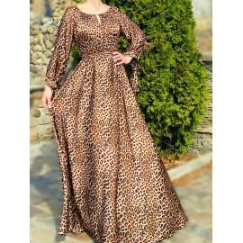 Rochie lunga cu imprimeu Leopard