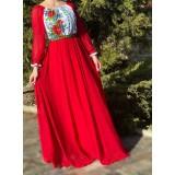 Rochie lunga cu imprimeu floral Miorita Rosu
