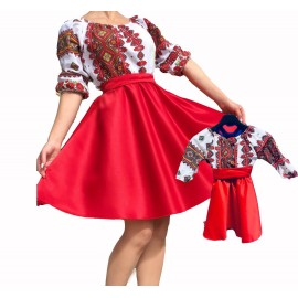 Set rochii mama-fica  cu motive traditionale Zina rosu