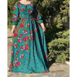 Rochie lunga cu imprimeu floral Lina Verde