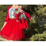 Set rochii mama-fiica scurte cu imprimeu floral Miorita Rosu