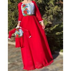 Set rochii mama-fiica lunga cu imprimeu floral Miorita Rosu