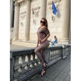 Salopeta dama din lycra usoara Leopard