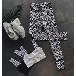 Colanti dama cu imprimeu Leopard Gri