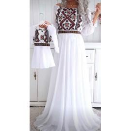 Set rochii mama-fiica lunga cu imprimeu Xenia Alb