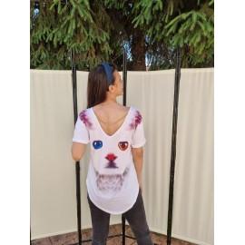 Tricou dama cu imprimeu Cat