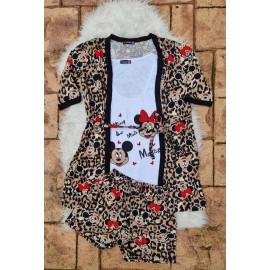 Pijama dama 3 piese Minnie si Mickey Leopard Maro