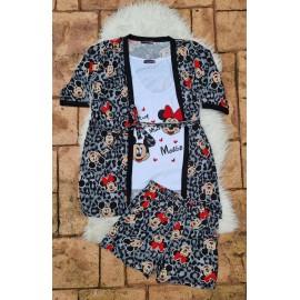 Pijama dama 3 piese Minnie si Mickey Leopard Gri