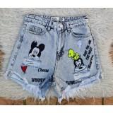 Pantaloni dama scurti de blug Mickey si Goofy