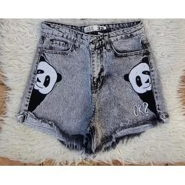 Pantaloni dama scurti de blug Panda Negru