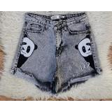Pantaloni dama scurti de blug Panda Gri